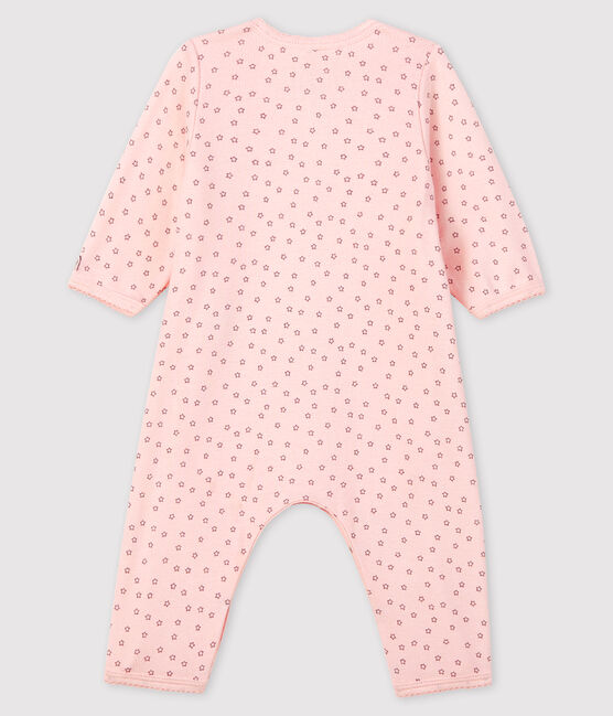 Baby Girls' Pink Starry Footless Ribbed Bodyjama Fleur pink / Concrete grey