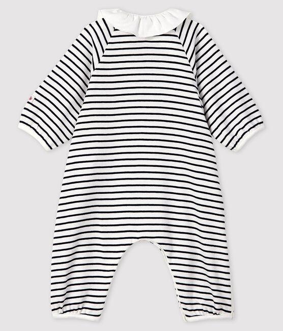 Baby Girls' Stripy Ribbed Jumpsuit Marshmallow white / Smoking blue