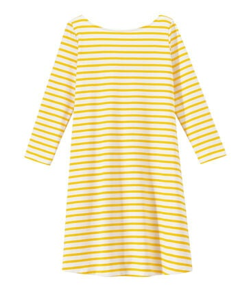 Women's striped dress with 3/4-length sleeves