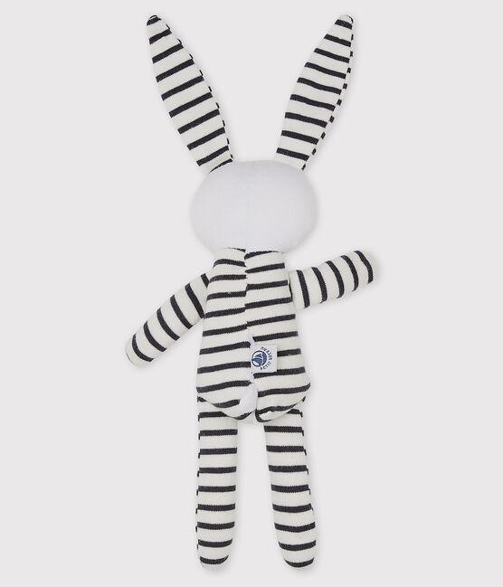 Babies' Striped Jersey Bunny Comforter Marshmallow white / Smoking blue