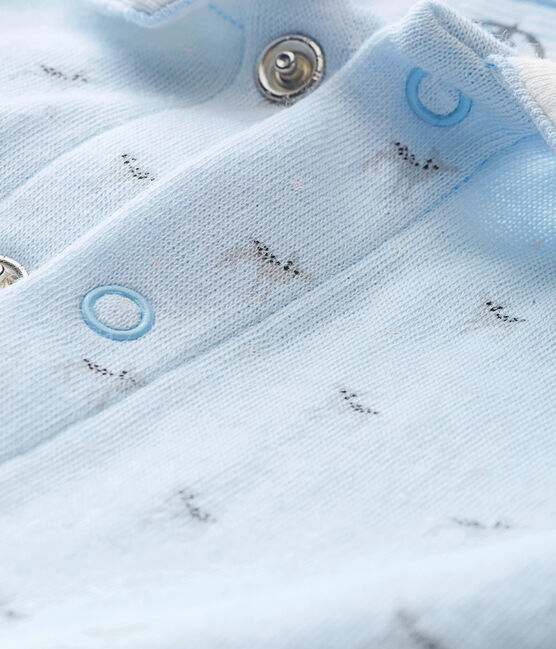 Baby boy's print tubic sleepsuit Fraicheur blue / Multico white