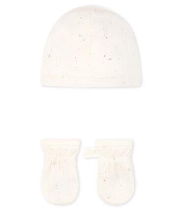 Newborn Babies' Bonnet and Mittens Set in Tube Knit