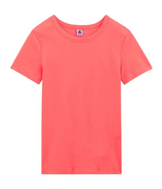 Women's short-sleeved crew neck iconic t-shirt Groseiller pink