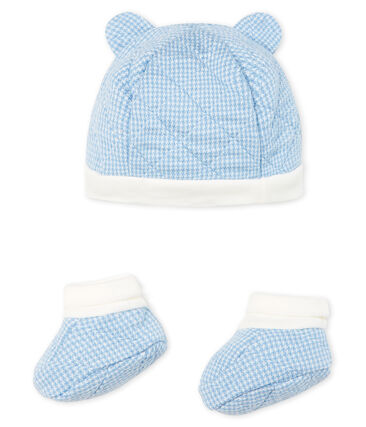 Baby Boys' Bonnet and Bootees Set in Quilted Tube Knit . set