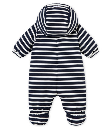 Baby Boys' Microfibre Snowsuit with Sailor Stripes Smoking blue / Marshmallow white