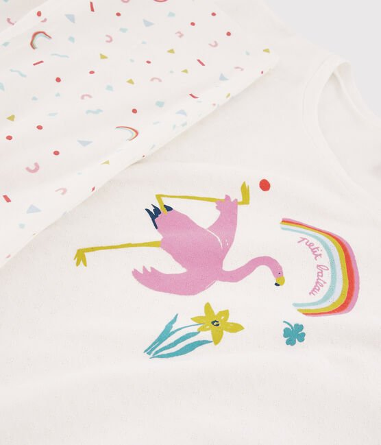 Girls' or Women's Pink Flamingo Ribbed Pyjamas Marshmallow white / Multico white