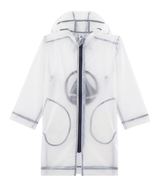 Unisex Children's Long See-Through Waxed Coat Transparent blue