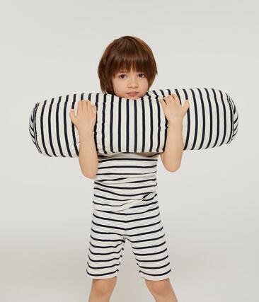 Boys' Ribbed Cropped Pyjamas Marshmallow white / Smoking blue