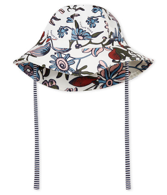 Baby girls' print sun hat Marshmallow white / Multico white