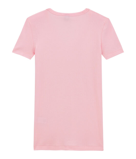 Women's original rib V-neck T-shirt Babylone pink
