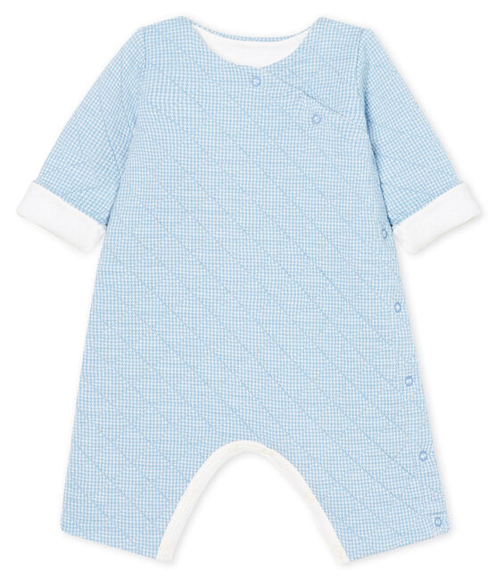 Babies' Long Jumpsuit in Quilted Tube Knit Acier blue / Marshmallow white
