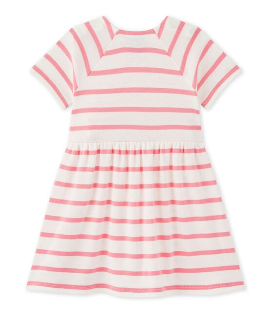 Baby girls' striped dress Marshmallow white / Petal pink
