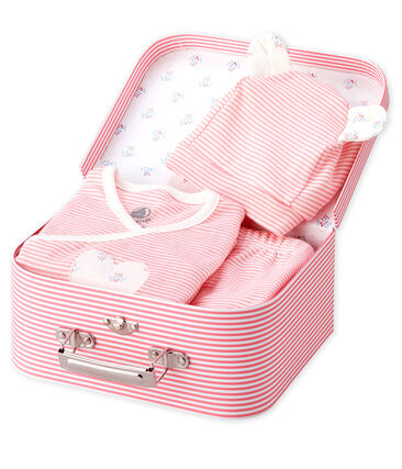 Babies' Ribbed Clothing - 3-Piece Set Gretel pink / Marshmallow white