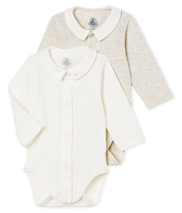 Baby boys' long-sleeved bodysuit with collar - 2-piece set