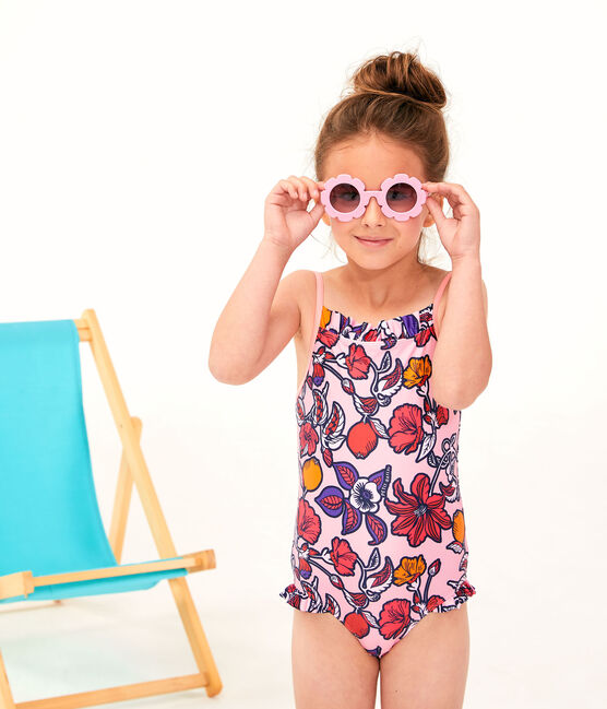 Girl's Eco-Friendly Swimsuit Patience pink / Multico white