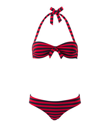 Women's striped bandeau-style two-piece swimsuit Smoking blue / Terkuit red