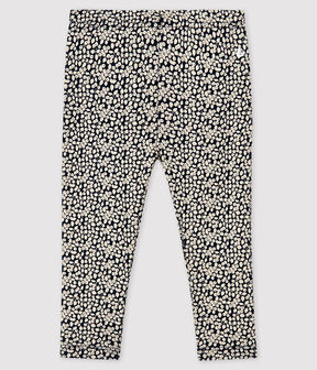 Baby girl's printed leggings Smoking blue / Marshmallow white