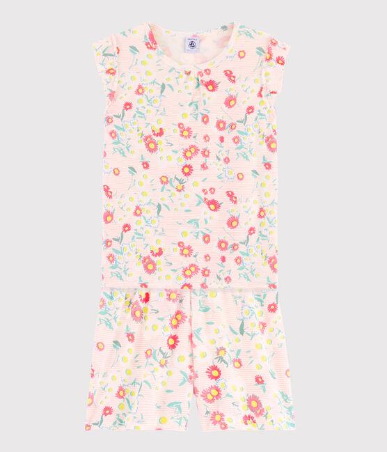 Girls' Ribbed Short Floral Pyjamas Marshmallow white / Multico white