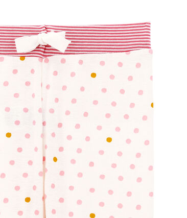 Little girl's pyjama bottoms Marshmallow white / Multico white
