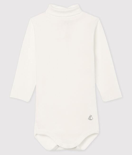 Baby's long-sleeved roll-neck bodysuit Marshmallow white