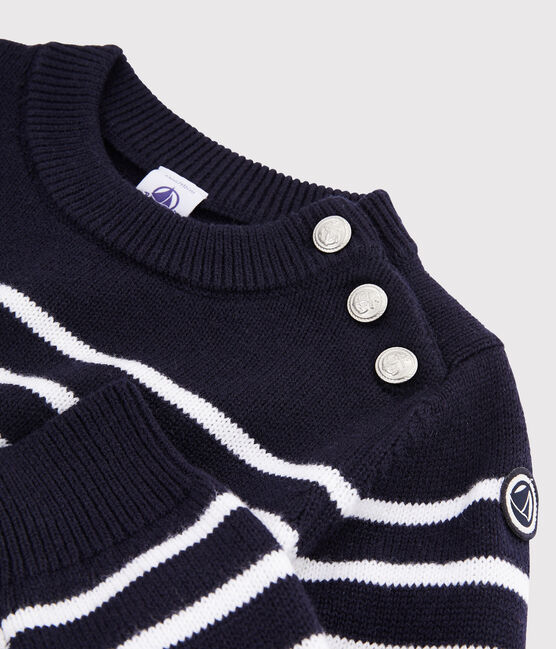 Children's Wool and Cotton Pullover Smoking blue / Marshmallow white