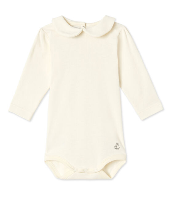 Baby girl's bodysuit with Peter Pan collar Coquille beige