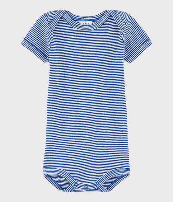 Baby Boys' Short-Sleeved Bodysuit Surf blue / Lait white
