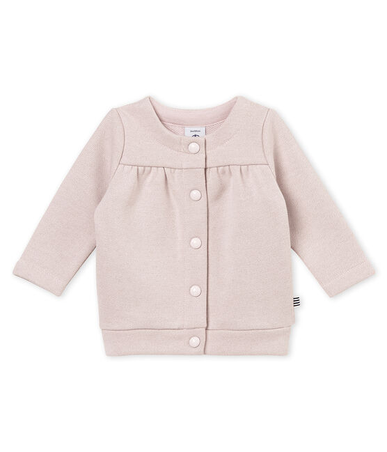 Baby girl's shiny cotton sweatshirt cardigan Joli pink / Dore yellow