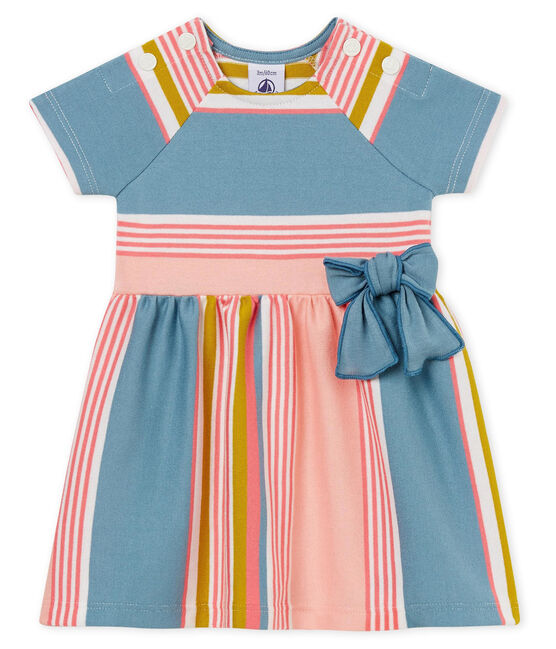 Baby girls' striped dress Marshmallow white / Multico white