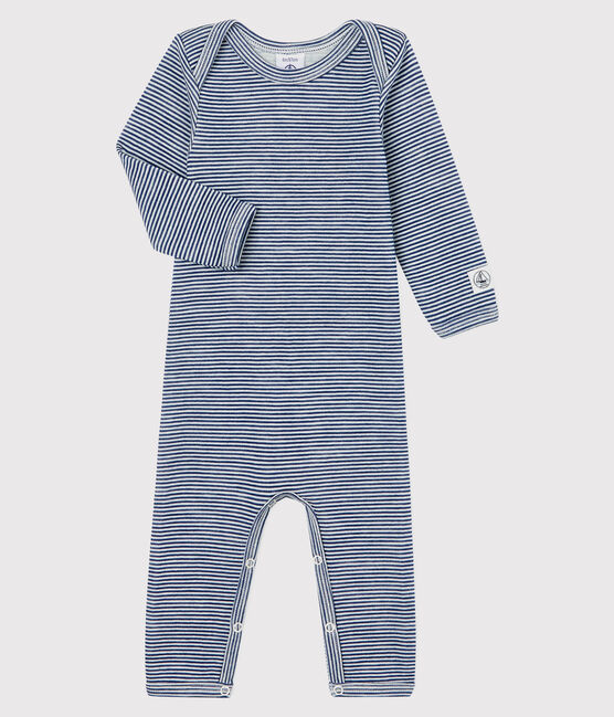 Babies' Striped Long Bodysuit in Cotton/Wool Medieval blue / Marshmallow white