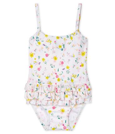 UPF 50+ swimsuit for baby girls Marshmallow white / Multico white
