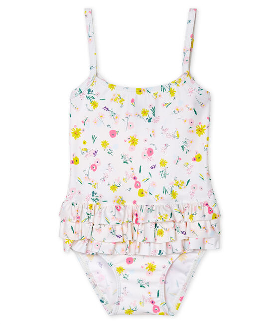 Baby Girls' Eco-Friendly Swimsuit Marshmallow white / Multico white