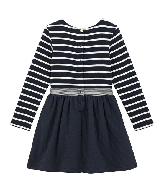 Girl's dual fabric striped dress Smoking blue / Marshmallow white