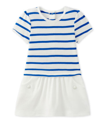 Baby girl's dress with short sleeves Marshmallow white / Perse blue