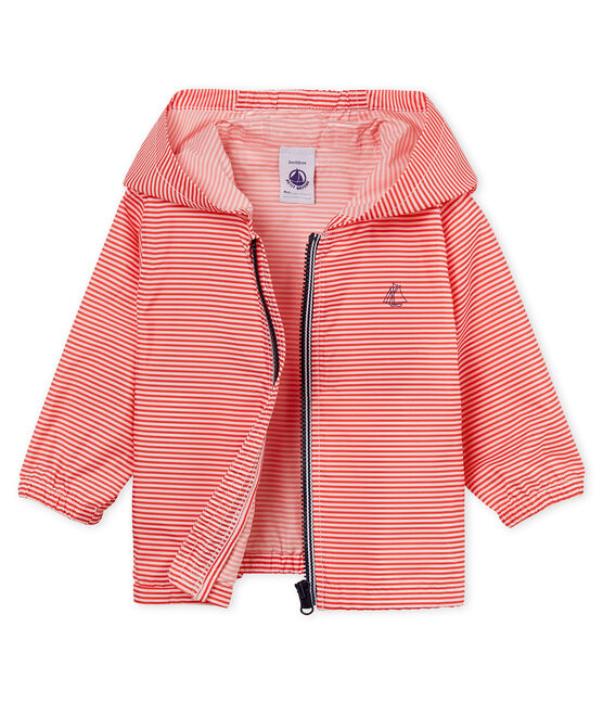 Unisex stripy windbreaker for babies Petal pink / Crystal blue