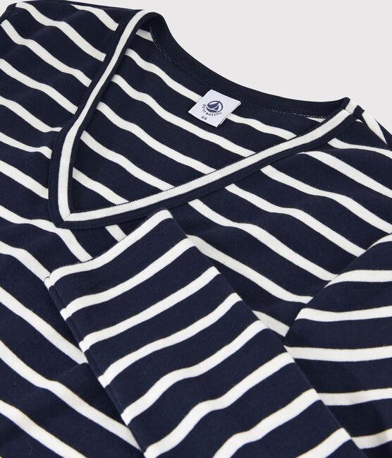 Women's iconic V-neck T-shirt Smoking blue / Marshmallow white
