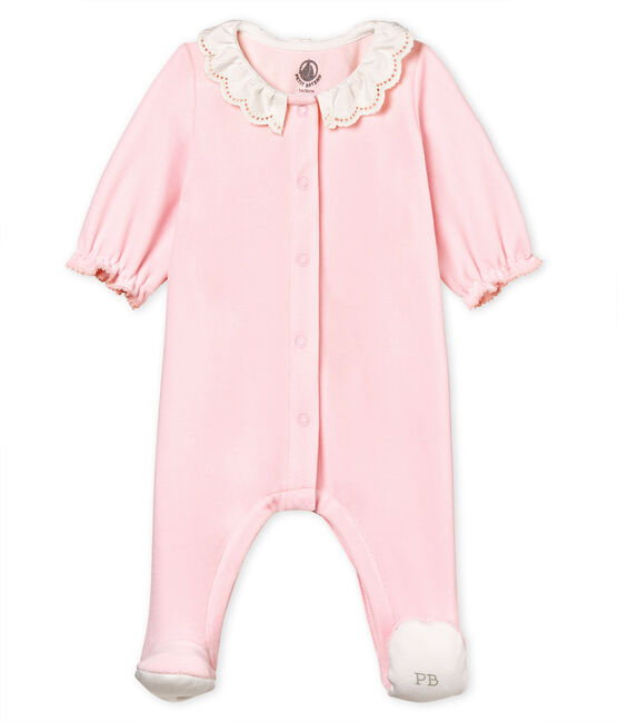 Baby girls' sleepsuit in cotton velour VIENNE