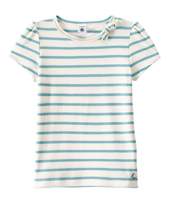 Girl's sailor-striped T-shirt Marshmallow white / Mimi blue