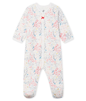 Baby Girls' Tube Knit Sleepsuit Marshmallow white / Multico white