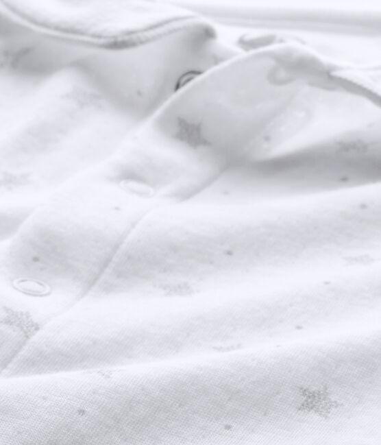 Baby's unisex sleepsuit and its newborn hat Ecume white / Shitake brown