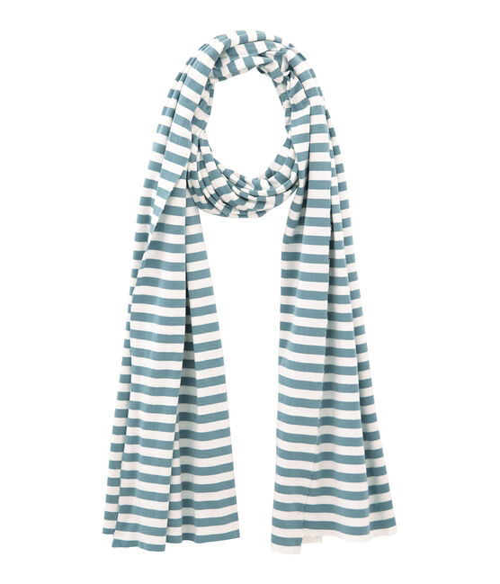 Women's stripy scarf Fontaine blue / Marshmallow white