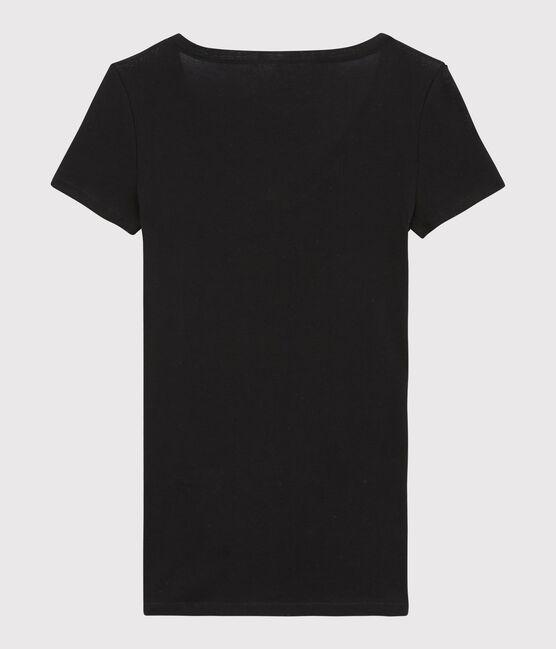 Women's Fine Ribbed T-Shirt Noir black