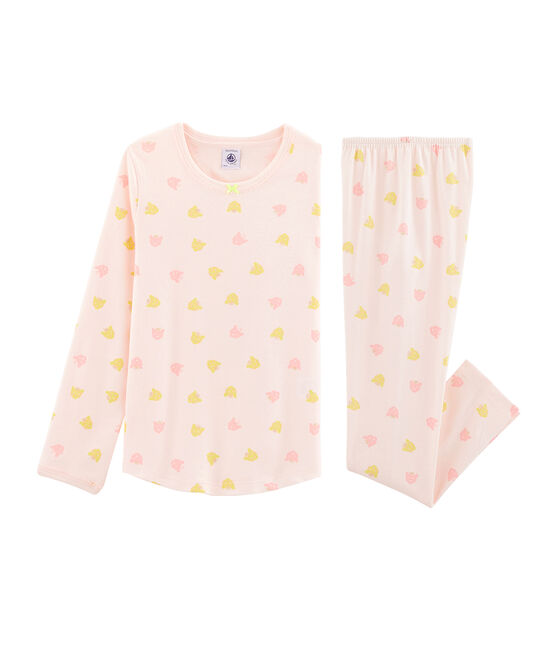 Girls' Ribbed Pyjamas Fleur pink / Multico white