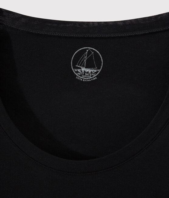 Women's fine rib knit T-shirt Noir black