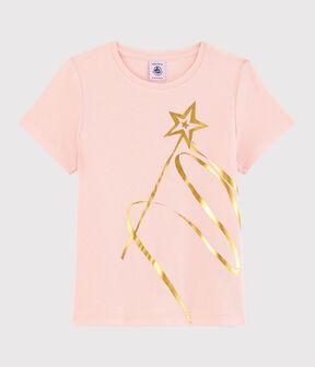 Girls' Short-Sleeved Cotton T-Shirt Minois pink
