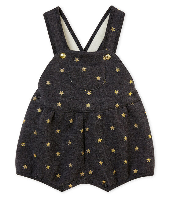 Baby girl's short dungarees City black / Dore yellow