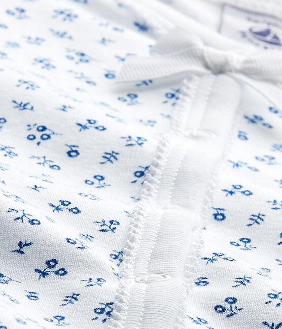 Baby girl's print sleepsuit Ecume white / Bleu blue