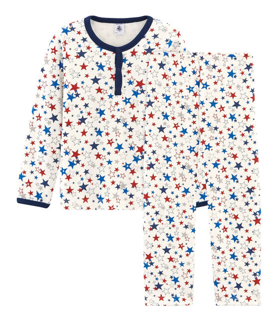 Boys' Tube Knit Pyjamas Marshmallow white / Multico white