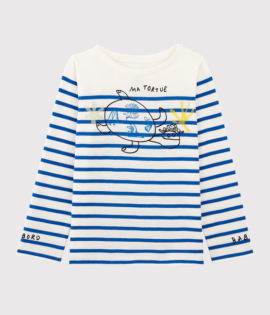 Serge Bloch child's Breton top Marshmallow white / Perse blue