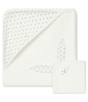 Babies' Square Bath Towel & Comforter Set in Terry and Tube Knit Marshmallow white / Multico white